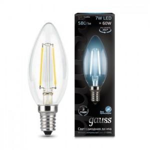 Лампа Gauss LED Filament Candle E14 7W 4100К 1/10/50