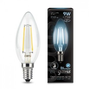 Лампа Gauss LED Filament Candle E14 9W 4100К 1/10/50