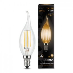 Лампа Gauss LED Filament Candle tailed E14 7W 2700К 1/10/50