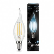 Лампа Gauss LED Filament Candle tailed E14 7W 4100К 1/10/50