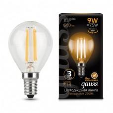 Лампа Gauss LED Filament Globe E14 9W 2700K 1/10/50