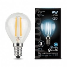 Лампа Gauss LED Filament Globe E14 9W 4100K 1/10/50