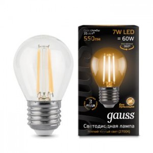 Лампа Gauss LED Filament Globe E27 7W 2700K 1/10/50