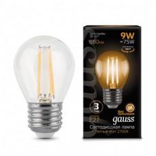 Лампа Gauss LED Filament Globe E27 9W 2700K 1/10/50