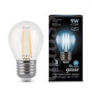 Лампа Gauss LED Filament Globe E27 9W 4100K 1/10/50