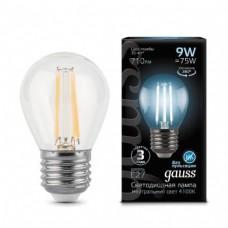 Лампа Gauss LED Filament Globe E27 9W 4100K 1/10/50