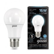 Лампа Gauss LED A60 16W E27 4100K 1/10/50