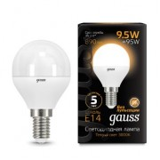 Лампа Gauss LED Globe E14 9.5W 3000K 1/10/50