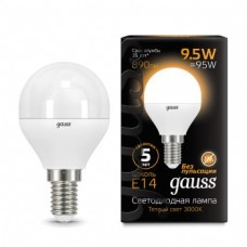 Лампа Gauss LED Globe E14 9.5W 3000K 1/10/50