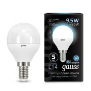 Лампа Gauss LED Globe E14 9.5W 4100K 1/10/50