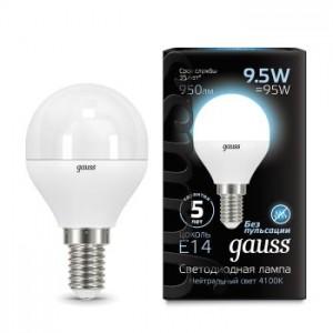 Лампа Gauss LED Globe E14 9.5W 4100K 1/10/50