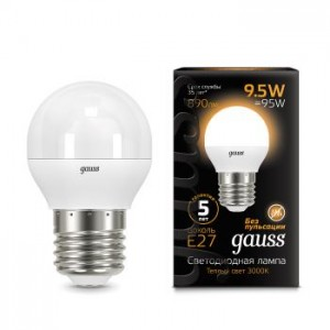 Лампа Gauss LED Globe E27 9.5W 3000K 1/10/50