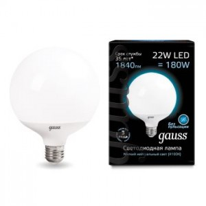 Лампа Gauss LED G125 E27 22W 4100K 1/24