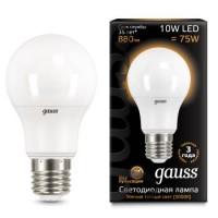 Лампа Gauss LED A60 10W E27 3000K 1/10/50