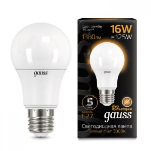 Лампа Gauss LED A60 16W E27 3000K 1/10/50