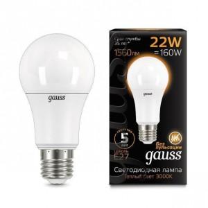 Лампа Gauss LED A70 22W E27 3000K 1/10/50