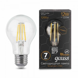 Лампа Gauss LED Filament Graphene A60 E27 12W 2700К 1/10/40