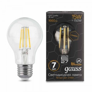 Лампа Gauss LED Filament Graphene A60 E27 15W 2700К 1/10/40