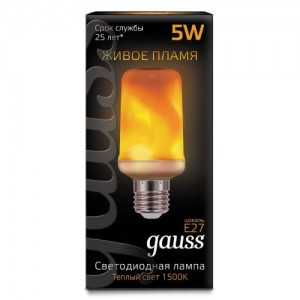 Лампа Gauss Led T65 Corn Flame 5W E27 1500K 1/10/100