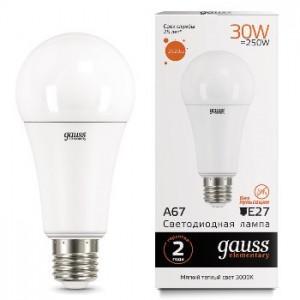 Лампа Gauss LED Elementary A67 30W E27 3000K 1/10/50