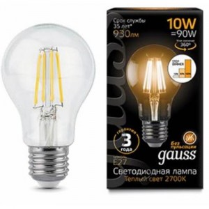Лампа Gauss LED Filament A60 E27 10W 930lm 2700К step dimmable 1/10/40