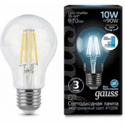 Лампа Gauss LED Filament A60 E27 10W 970lm 4100К step dimmable 1/10/40