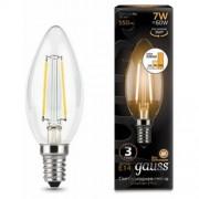 Лампа Gauss LED Filament Свеча E14 7W 550lm 2700К step dimmable 1/10/50