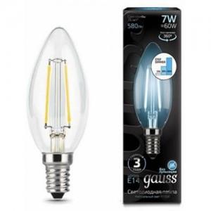Лампа Gauss LED Filament Свеча E14 7W 580lm 4100К step dimmable 1/10/50