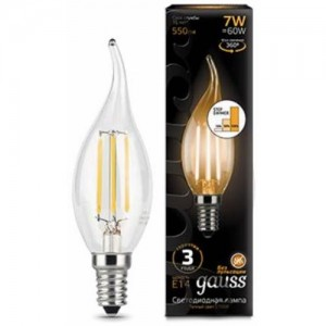 Лампа Gauss LED Filament Свеча на ветру E14 7W 550lm 2700K step dimmable 1/10/50