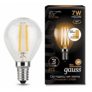 Лампа Gauss LED Filament Шар E14 7W 550lm 2700K step dimmable 1/10/50