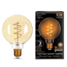 Лампа Gauss LED Filament G95 Flexible E27 6W Golden 360lm 2400К 1/20