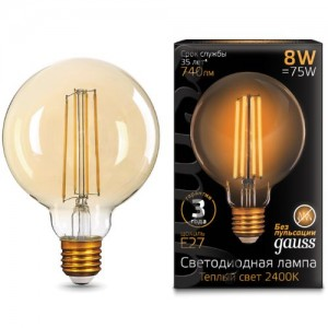 Лампа Gauss LED Filament G95 E27 8W Golden 740lm 2400К 1/20