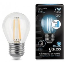 Лампа Gauss LED Filament Шар E27 7W 580lm 4100K step dimmable 1/10/50