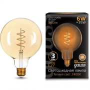 Лампа Gauss LED Filament G120 Flexible E27 6W Golden 360lm 2400К 1/20
