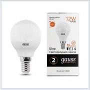Лампа Gauss LED Elementary Шар 12W 880lm E14 3000K 1/10/100