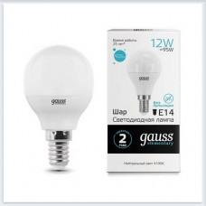 Лампа Gauss LED Elementary Шар 12W 920lm E14 4100K 1/10/100