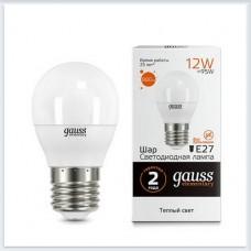 Лампа Gauss LED Elementary Шар 12W 880lm E27 3000K 1/10/100