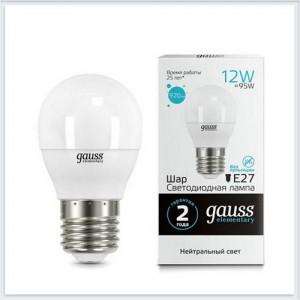 Лампа Gauss LED Elementary Шар 12W 920lm E27 4100K 1/10/100