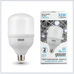 Лампа Gauss Elementary LED T100 E27 32W 2600lm 180-240V 4000K 1/20
