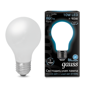 Лампа Gauss LED Filament A60 OPAL E27 10W 4100К 1/10/40