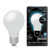 Лампа Gauss LED Filament A60 OPAL dimmable E27 10W 4100К 1/10/40