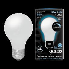 Лампа Gauss LED Filament A60 OPAL dimmable E27 10W 4100К 1/10/40