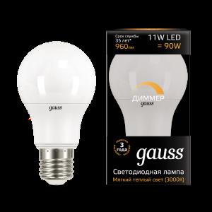 Лампа Gauss LED A60-dim E27 11W 3000К диммируемая 1/10/50