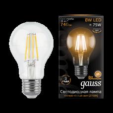 Лампа Gauss LED Filament A60 E27 8W 2700К 1/10/40