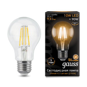 Лампа Gauss LED Filament A60 E27 10W 2700К 1/10/40