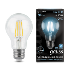 Лампа Gauss LED Filament A60 E27 8W 4100К 1/10/40