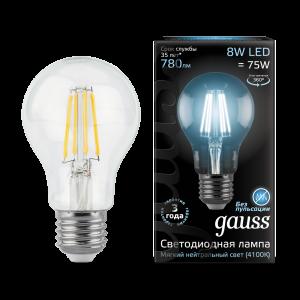 Лампа Gauss LED Filament A60 E27 8W 4100К 1/10/40