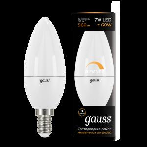 Лампа Gauss LED Candle-dim E14 7W 3000К диммируемая 1/10/100