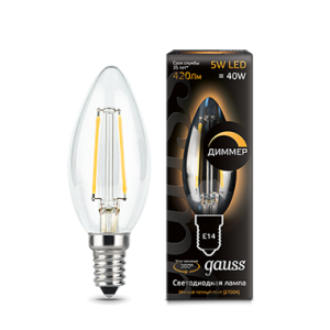 Лампа Gauss LED Filament Candle dimmable E14 5W 2700К 1/10/50