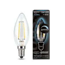 Лампа Gauss LED Filament Candle dimmable E14 5W 4100К 1/10/50